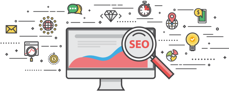 Illustration of different aspects of SEO
