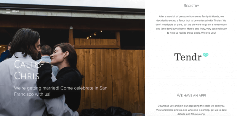 joy wedding website