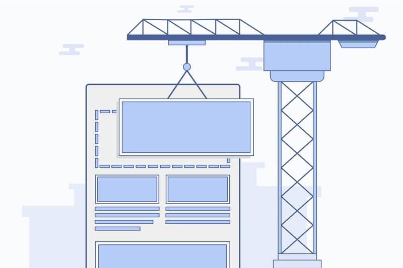 Webpage section being attached with a construction crane