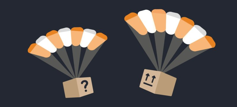 Two packages labeled with a question mark and arrows that make a confused face, both dropped with parachutes