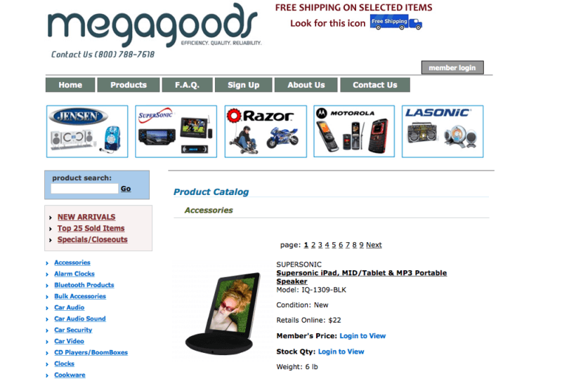 Megagoods product catalog