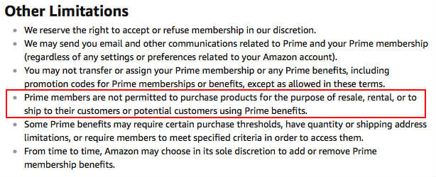 Amazon Prime and drop shipping