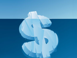 Illustration of iceberg shaped like a dollar sign