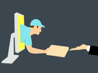 courier reaching out from computer screen to deliver package