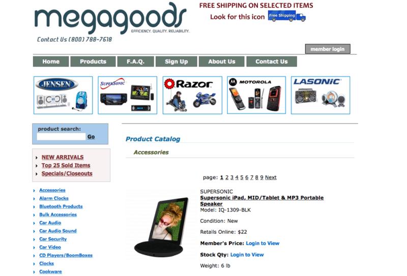 Megagoods product catalog
