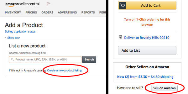 Amazon add product sell button