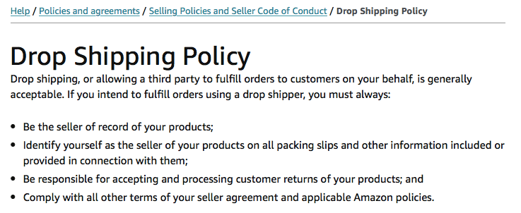 Amazon drop shipping policy