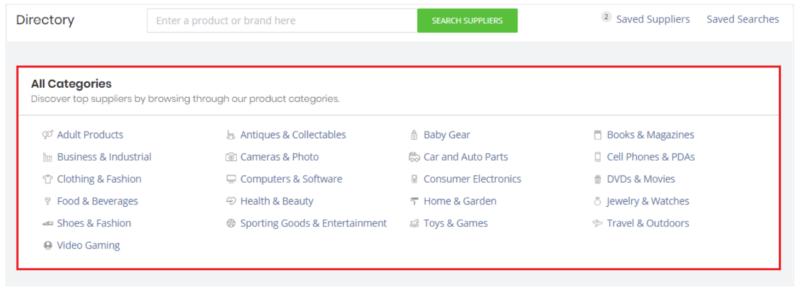 SaleHoo supplier directory categories