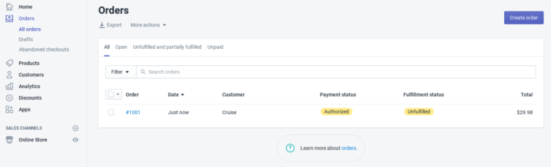 Shopify order manager