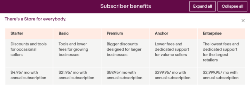 eBay stores subscription plans and pricing